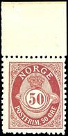 1893, 50 Ö. Posthorn, Gezähnt 13 1/2:12 1/2, Mit Oberrand, Tadellos Postfrisch, Ausgabetypische, Unten Etwas Stumpfe Zäh - Norwegen