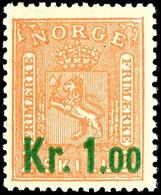 1905, 1 Kr. Auf 2 Sk Wappen Orange, Tadellos Postfrisch, Unsigniert, Kabinett, In Postfrischer Erhaltung Selten, Fotoatt - Norwegen