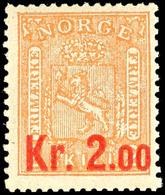 1905, 2 Kr. Auf 2 Sk. Wappen Orange, Tadellos Postfrisch, Unsigniert, Kabinett, In Postfrischer Erhaltung Nicht Häufige  - Norwegen
