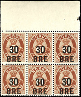 1906, 30 Ö. Auf 7 Sk. Posthorn, Waagerechter 6er-Block Mit Oberrand, Tadellos Postfrisch, Unsigniert, Luxus, Dekorative  - Norwegen