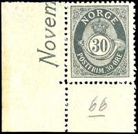1907, 30 Ö. Posthorn Mit Linker Unterer Bogenecke, Tadellos Postfrisch, Unsigniert, Kleine Bleistiftnotiz Im Unterrand,  - Norwegen