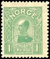 1907, 1 Kr. König Haakon VII. Hellgrün, Tadellos Postfrisch, Kabinett, In Postfrischer Erhaltung Nicht Häufig, Gepr. Geb - Norwegen