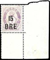 1908, 15 Ö. Auf 4 Sk. Posthorn Blasslila Mit Rechter Unterer Bogenecke, Tadellos Postfrisch, Unsigniert, Luxus, In Postf - Norwegen