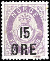 1908, 15 Ö. Auf 4 Sk. Posthorn Dunkelviolett, Tadellos Postfrisch, Unsigniert, Kabinett, In Postfrischer Erhaltung Ist D - Norwegen