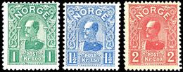 1909, 1 - 2 Kr. König Haakon VII., 3 Werte Komplett, Tadellos Postfrisch, Kabinett, Auflage Nur 22.300 Sätze, In Postfri - Norwegen