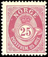 1909, 24 Ö. Posthorn Rotlila, Tadellos Postfrisch, Unsigniert, Leichte Fingerabdruckspur Ist Zu Tolerieren, Da Der Schlü - Norwegen