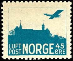 1927, 45 Ö. Flugpost Burg Akershus, Type I, Tadellos Postfrisch, Unsigniert, Mi. 130.-, Katalog: 136I ** - Norwegen