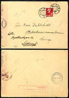"""1945, 20 Ö. Wappen Auf Zensurbrief Von """"NYSTRAND 2 I 45"""" Nach Schweden (dort Nachgesandt) Mit Ankunftsstempel, Deutsche  - Norwegen"""