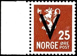 1941, 25 Ö. Freimarke Mit Überdruck Mit Wasserzeichen, Mit Linkem Bogenrand, Tadellos Postfrisch, Kabinett, Sehr Seltene - Norwegen