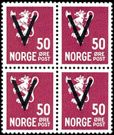 1941, 50 Ö. Freimarke Mit Aufdruck Mit Wasserzeichen, 4er-Block, Tadellos Postfrisch, Seltene Einheit Der Guten Marke, G - Norwegen