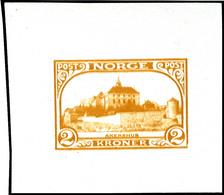"""1943 (ca.), Fremdenverkehr, Ungezähnter Probedruck 2 K. In Abweichendem Markenbild Und -format """"Akershus"""" In Oranger Far - Norwegen"""