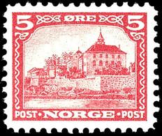 """1943 (ca.), Fremdenverkehr, Probedrucke 5 Ö. In Abweichendem Markenbild Und -format """"Akershus"""" In Rot, Grün Und Blau, Un - Norwegen"""
