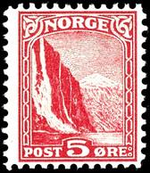"""1943 (ca.), Fremdenverkehr, Probedrucke 5 Ö. In Abweichendem Markenbild Und -format """"Fjord"""" In Rot, Grün Und Blau, Ungeb - Norwegen"""
