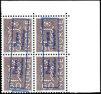"1962, 60 Ö. Freimarke, Probedruck Auf Phosphorpapier, 4er-Block Mit Rechter Oberer Bogenecke, Je Mit Blauem Ra2 ""Prove / - Norwegen"