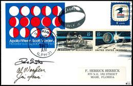"""1971, USA / APOLLO 15 - Sogenannter Mondphasen-Brief Vom Kommandant Al Worden, Geflogen Zum Mond; Mit Poststempel """"USS O - Ansichtskarten"""