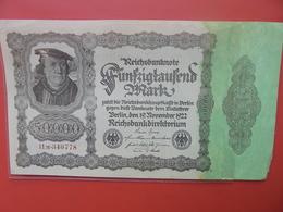 Reichsbanknote 50.000 MARK 1922 VARIETE N°2 - [ 3] 1918-1933 : Repubblica  Di Weimar