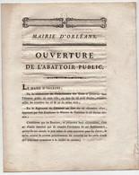 Mairie D'Orléans Ouverture De L'Abattoir Public 1821 Le Comte De Rocheplatte Bouchers Préfet Vicomte De Riccé - Historische Dokumente