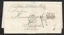 1863 - LAC - LIMA, PERU A REIMS - Taxe Angl - Fr GB 2 F 87 5 /10C Par LONDRES - Manuecrit P WEST INDIA MAIL - Poststempel (Briefe)