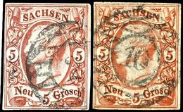 5 Ngr Vier Mal Je Tadellos Gestempelt In Verschiedenen Farben, Katalog: 12(4) O - [ 1] …-1871: Altdeutschland