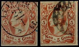 5 Ngr In A- Und In Aa-Farbe Je Tadellos Gestempelt Und Allseits Voll- Bis Breitrandig, Gepr. Rismondo BPP, Mi. 180.-, Ka - [ 1] …-1871: Altdeutschland