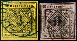 3 Und 9 Kr In Type DII Bzw. BII Tadellos Gestempelt Luxus, Gepr. Irtenkauf BPP, Mi. 200.-, Katalog: 2dII+4bII O - [ 1] …-1871: Altdeutschland