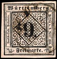 9 Kr Schwarz Auf Mattrötlichkarmin Tadellos Gestempelt Und Allseits Breitrandig, Luxus, Tiefst Gepr. Irtenkauf BPP, Mi.  - [ 1] …-1871: Altdeutschland