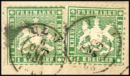 """1 Kr In B-Farbe Zweimal Tadellos Auf Briefstück Mit Zwei Stempelabschlägen """"ULM 6 OCT"""", Mi. 240.-, Katalog: 25b(2) BS - [ 1] …-1871: Altdeutschland"""