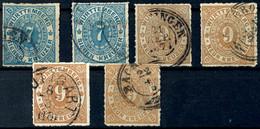 7 Kr Zwei Mal Und 9 Kr Vier Mal In Nuancen, Tadellos Gestempelt, Eine Nr. 39 Und Drei Nr. 40 Tiefst Gepr. Irtenkauf BPP, - [ 1] …-1871: Altdeutschland