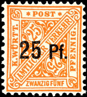 25 Pf Auf 25 Pf Ohne Wasserzeichen Tadellos Postfrisch, Mi. 80.-, Katalog: 240Y ** - [ 1] …-1871: Altdeutschland
