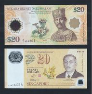 2007 Singapore & Brunei $20 Dollar Polymer Commemorative Banknote Set Of 2 UNC #76 - Singapore