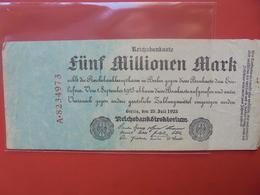 Reichsbanknote 5 MILLIONEN MARK 1923 - [ 3] 1918-1933 : Repubblica  Di Weimar