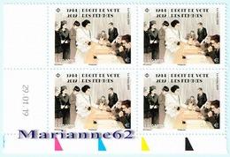"""France 1944 2019 TP*4 Coin """" Droit De Vote Des Femmes """" 29-01-2019 - Ecken (Datum)"""
