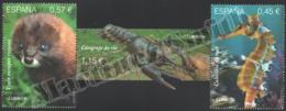 Spain - Espagne 2016 Yvert 4791-93, Protected Fauna. Seahorse, Mink, River Crab - MNH - 1931-Hoy: 2ª República - ... Juan Carlos I