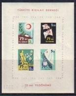 1952 TURKEY 75TH ANNIVERSARY OF THE TURKISH RED CRESCENT ASSOCIATION SOUVENIR SHEET MNH ** - 1921-... République