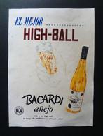Kuba / Cuba Bacardi Altes Reklameschild Um 1950,Poster Rum High Ball, Santiago De Cuba, Ron Santiago Ron Anejo - Plaques En Carton