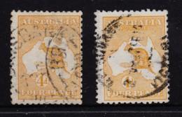 Australia 1913 Kangaroo 4d Orange-Yellow & Yellow-Orange 1st Wmk Used - Used Stamps