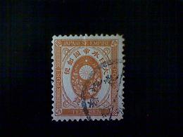 Japan, Scott #79, Used (o), 1888, Crest, Chrysanthemum Kiri Branches, 10s, Brown Orange - Used Stamps