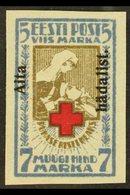 "1923  5m+7m Brown & Blue Red Cross ""Aita Hadalist"" Overprinted Imperf, Mi 47B, 4 Wide Margins, Very Fine Mint For More I - Estonia"