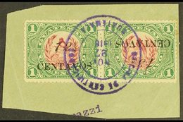 """1916  12½ On 1c Claret & Green INVERTED """"13½"""" FOR """"12½"""" Variety In Horizontal SE-TENANT PAIR With Normal Stamp, SG 153+1 - Guatemala"""