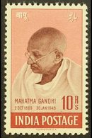 1948  10r Purple-brown & Lake Mahatma Gandhi - Independence, SG 308, Superb Mint With Only Minimal Traces Of Hinge, Very - India