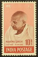 1948  10r Purple- Brown And Lake Gandhi, SG 308, Lightly Hinged Mint. For More Images, Please Visit Http://www.sandafayr - India