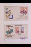 SPORT TOPICAL COLLECTION  1951-1996 Very Fine Collection On Album Pages. Never Hinged Mint Stamps (often In A Block Of F - India