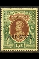 JIND  1937-38 KGVI 15r Brown & Green, SG 125, Never Hinged Mint. For More Images, Please Visit Http://www.sandafayre.com - Unclassified