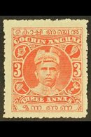 COCHIN  1911 3a Vermilion, Rama Varma I, SG 33, Very Fine Mint. For More Images, Please Visit Http://www.sandafayre.com/ - Unclassified