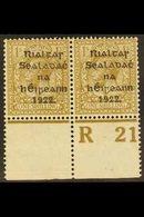 1922  1s Bistre-brown Thom Overprint In Black (SG 15, Hibernian T19), Fine Mint Lower Marginal Perf 'R21' CONTROL PAIR,  - Ireland