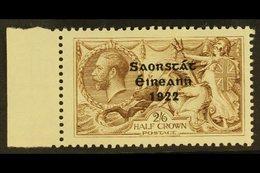 "1922  2s 6d Pale Brown, 3 Line Thom Ovpt, Variety ""Corner Re-entry"", Hib. T59ca (SG 64 Var), Very Fine Mint Marginal. Fo - Ireland"