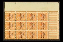 "1922-23 VARIETIES  2d Orange (SG 55) Marginal Corner Pane Multiple Of 12 Stamps,incorporates ""S Over E"" Varieties, Row - Ireland"