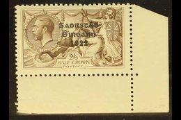 1925-8  2s6d Chocolate-brown, Wide Setting, Overprint In Black Ink, SG 86, Never Hinged Mint., Corner Marginal Example.  - Ireland