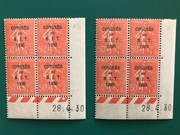 50c Semeuse Surcharge BIT  Yv 264   Paire CD AS + A   28/4/30 - Coins Datés