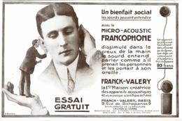 """PUB   OREILLE ARTIFICIELLE MICRO-ACOUSTIC FRANCOPHONE   """" FRANCK-VALERY """"   1913 ( 1 ) - Technical"""